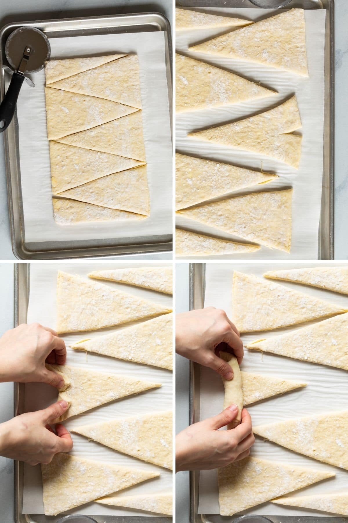 Step by step how to shape croissants
