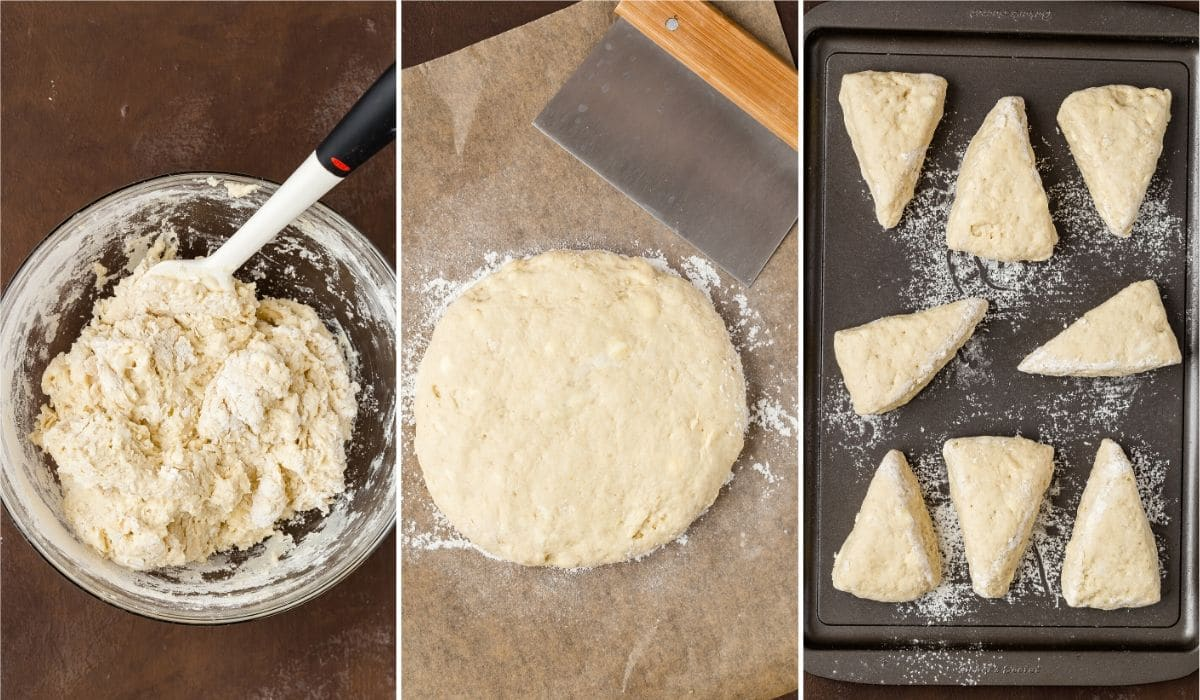 Process shots showing how to make soft scones.