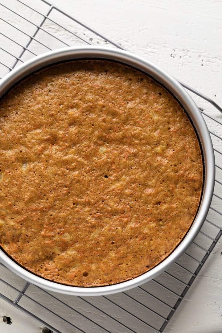 pineapple carrot cake in cake pan