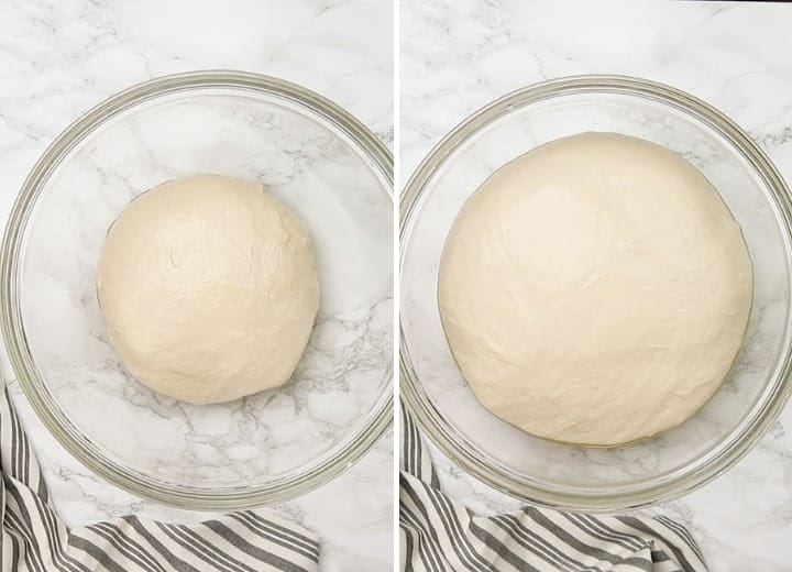 proofing pizza dough process shots