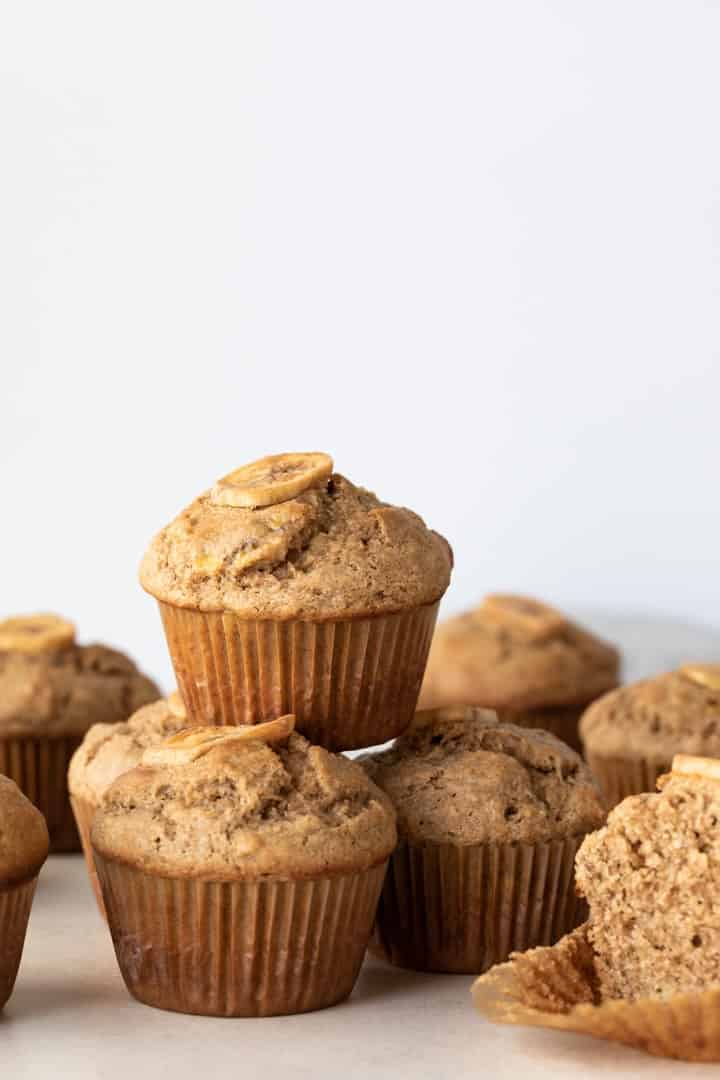whole wheat banana muffins stacked
