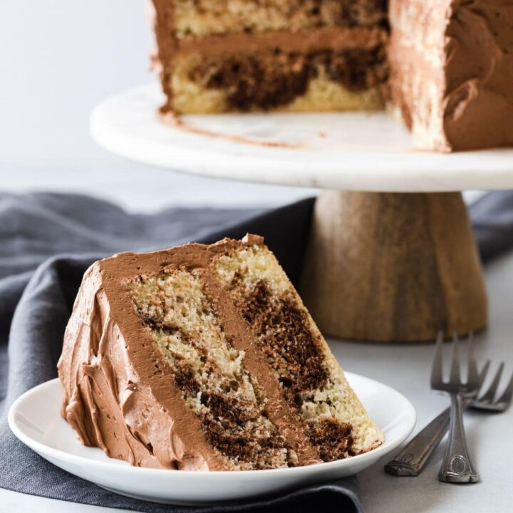slice of marble cake on white plate