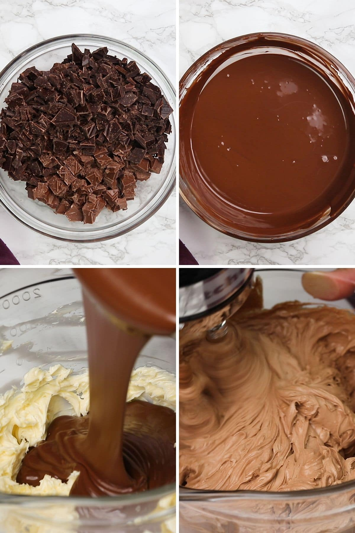whipped chocolate frosting process shots