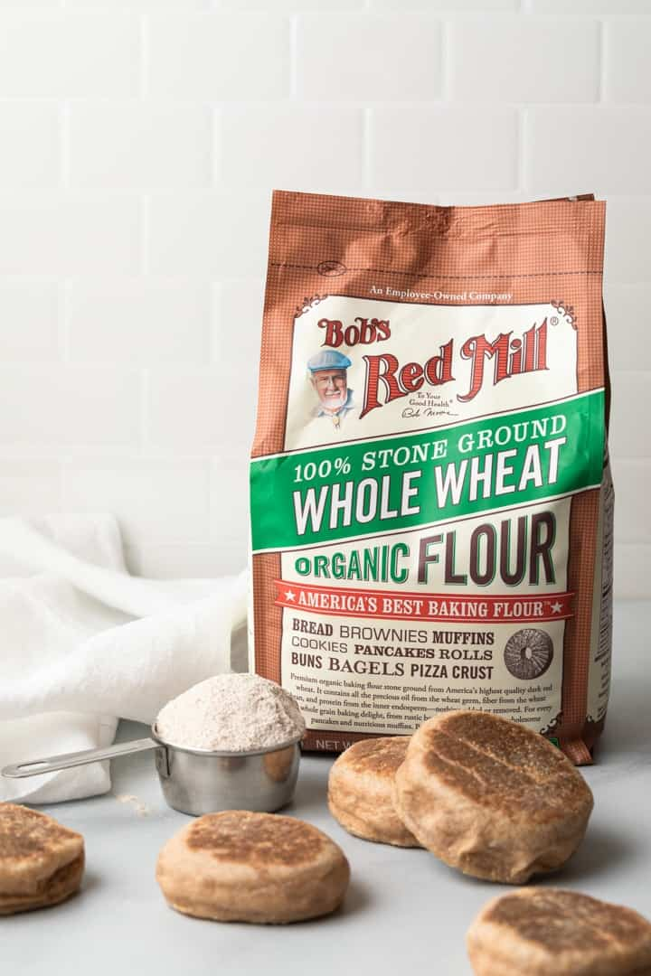 whole wheat English muffins made with Bob's Red Mill organic whole wheat flour