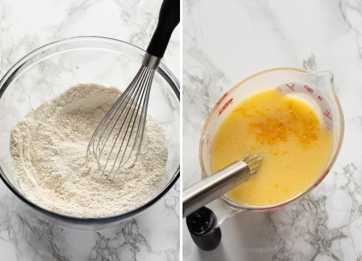 wet and dry ingredients mixed separately