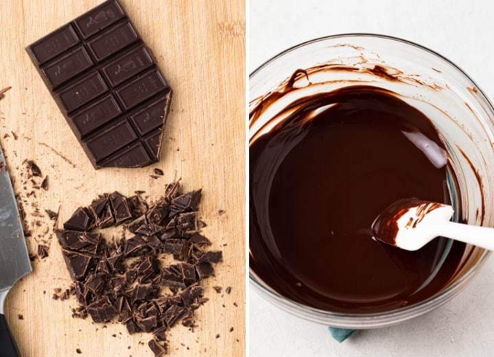 chopped chocolate on a cutting board and a bowl of melted chocolate