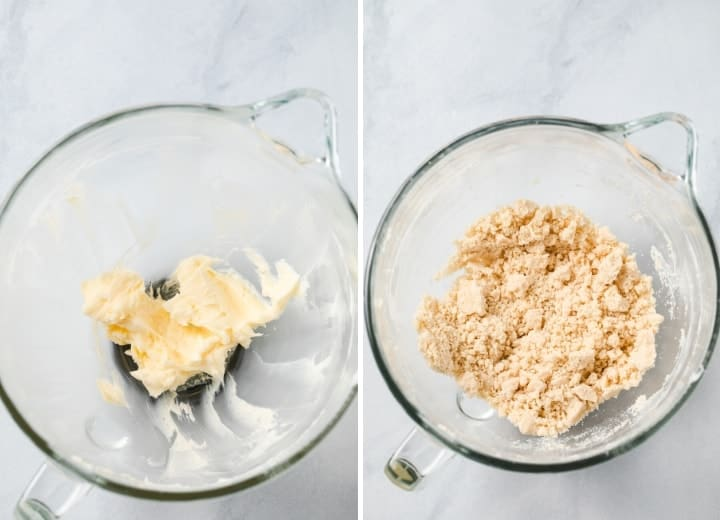 process shots for mixing shortbread cookie dough