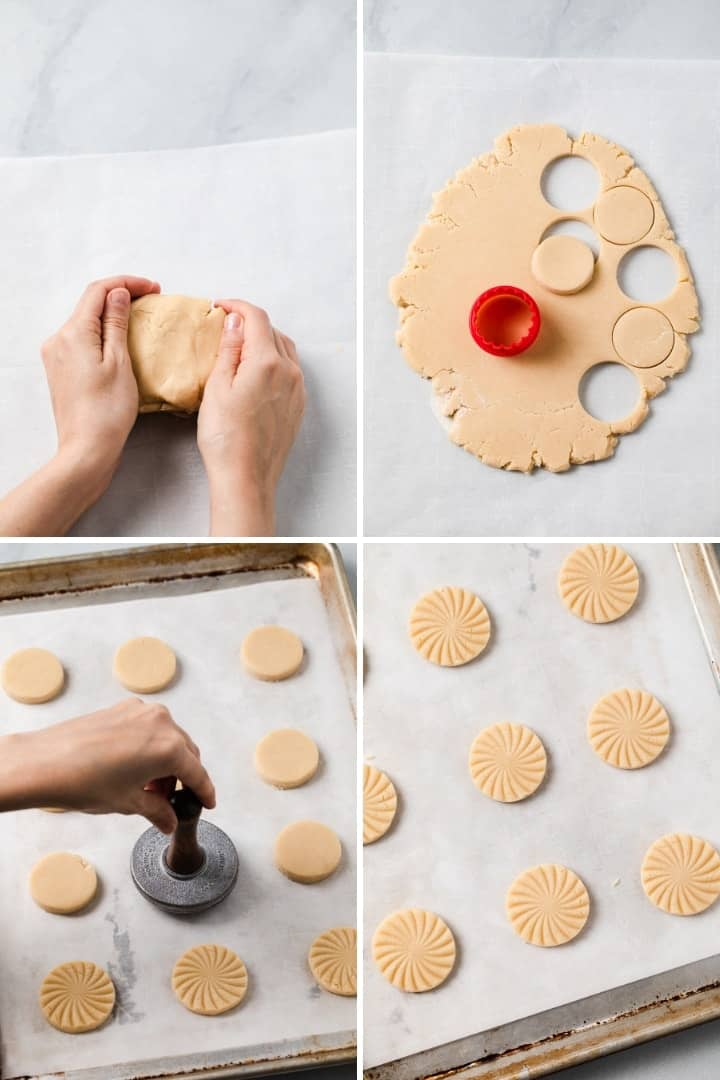 shortbread cookies being shaped and stamped