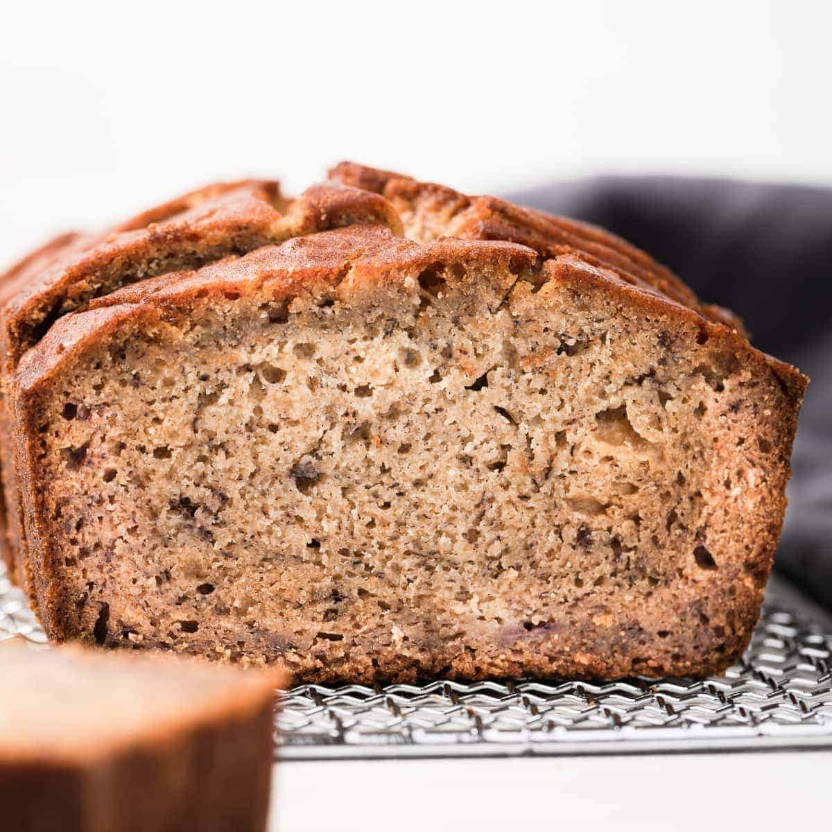 close up of a slice of banana bread make with gluten free flour