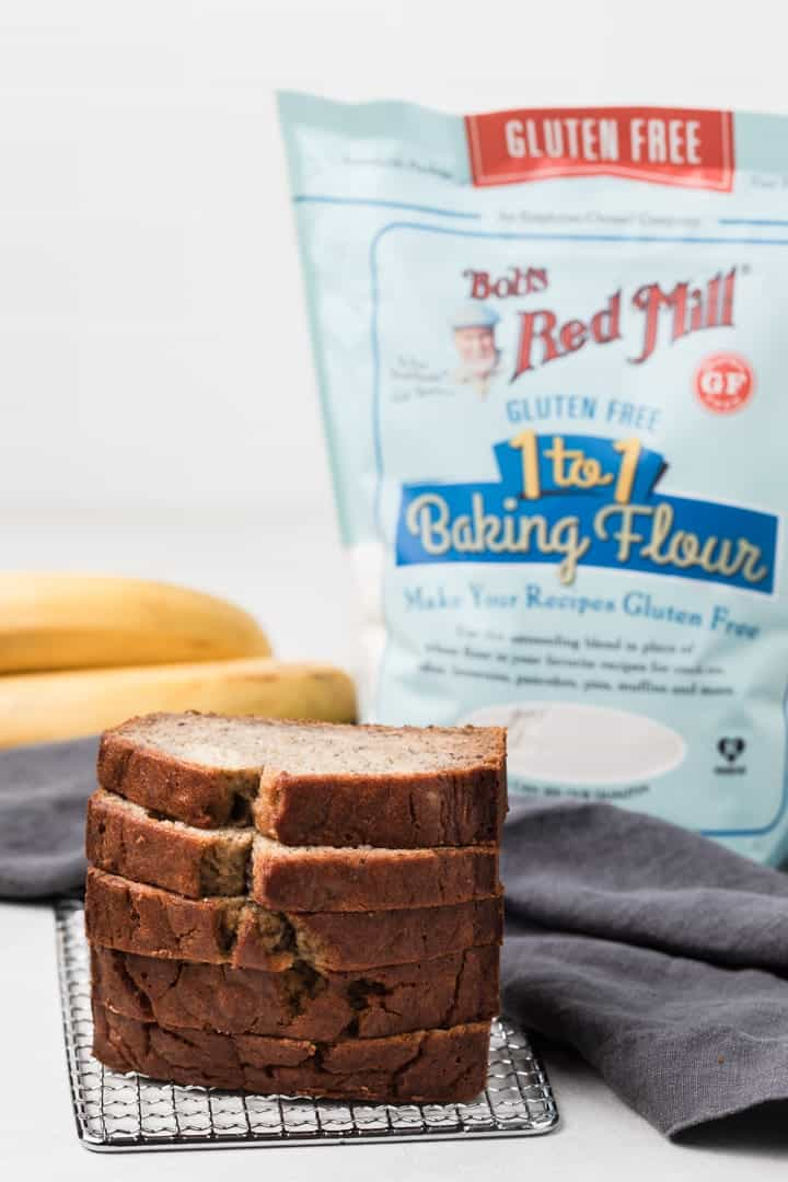 banana bread made with Bob's Red Mill Gluten Free Flour