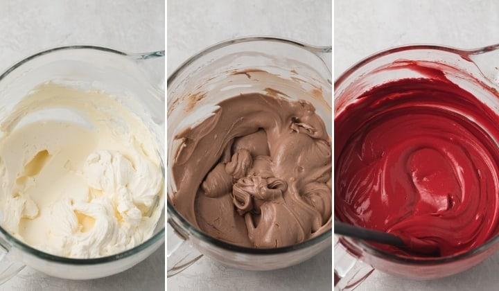 process shots for making red velvet cheesecake batter