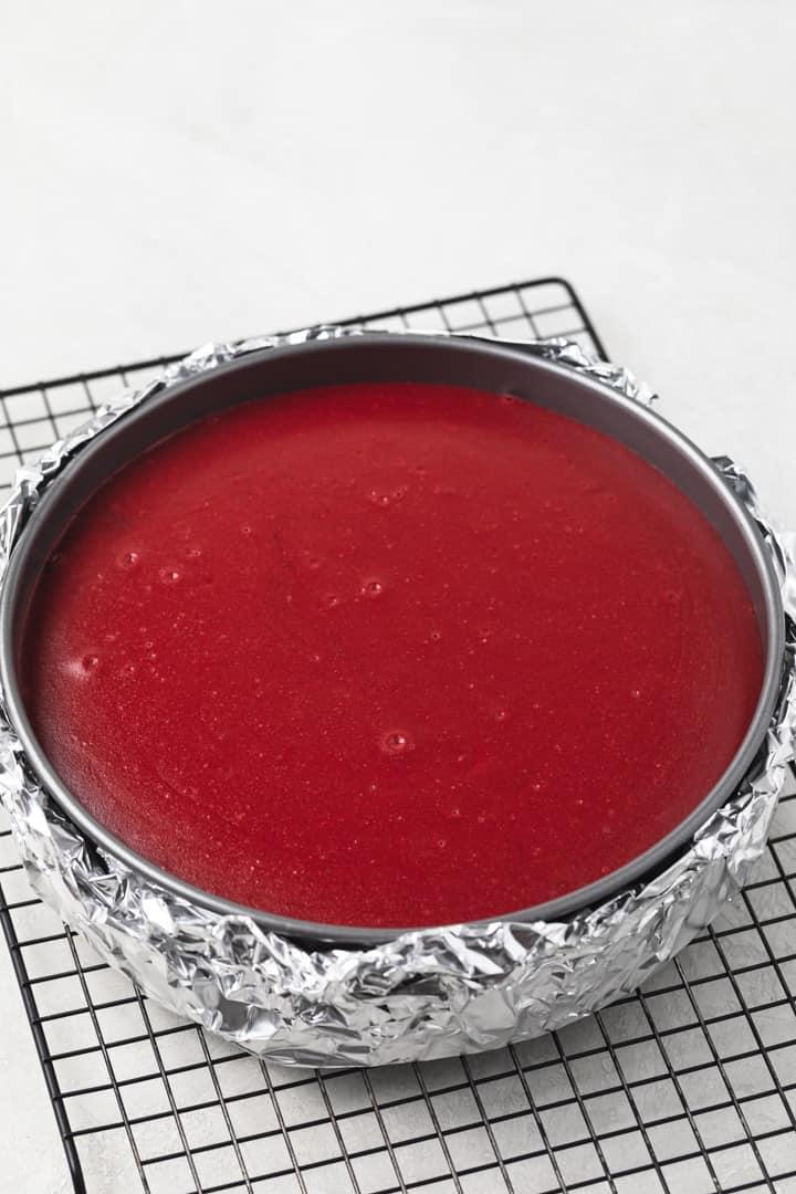 baked red velvet cheesecake in pan