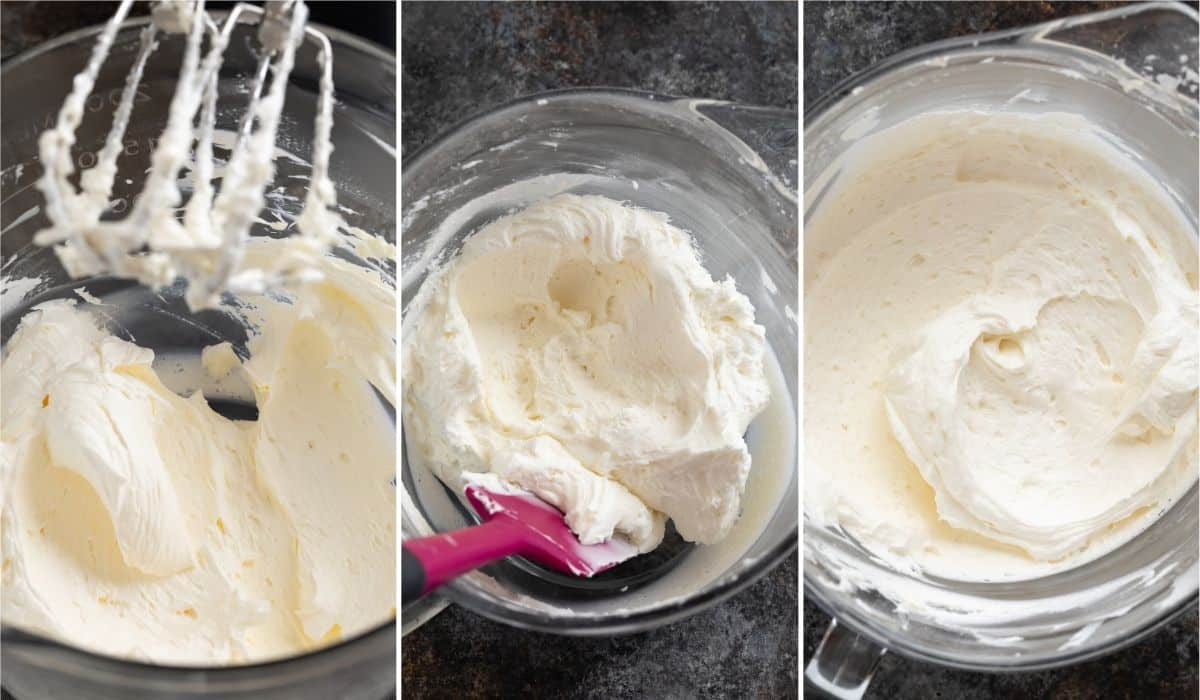 Process shots for making buttercream frosting