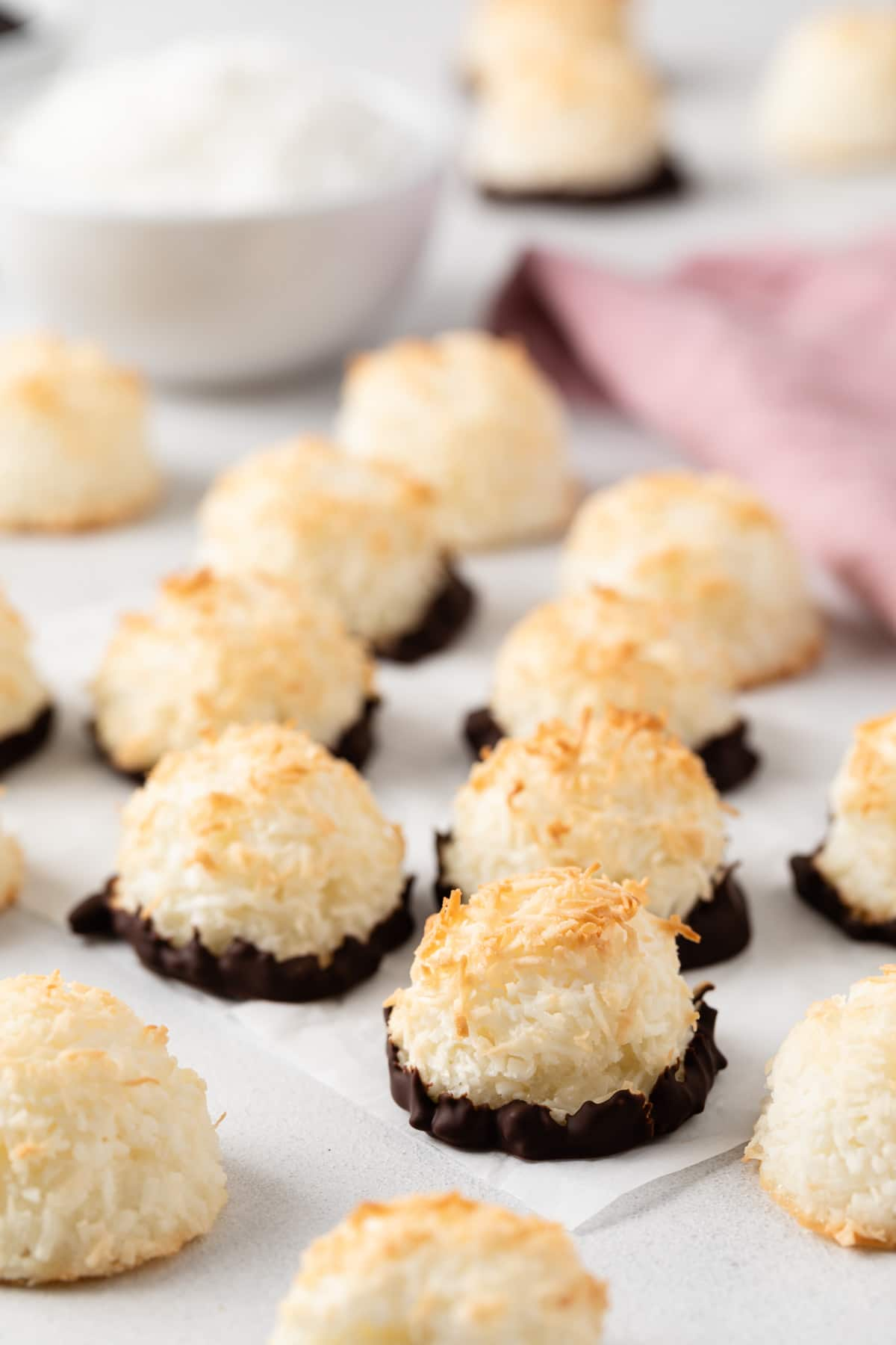 chocolate coconut macaroons on parchment paper