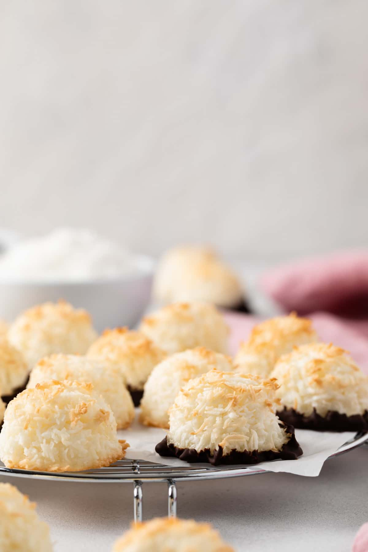 coconut macaroons on wire rack