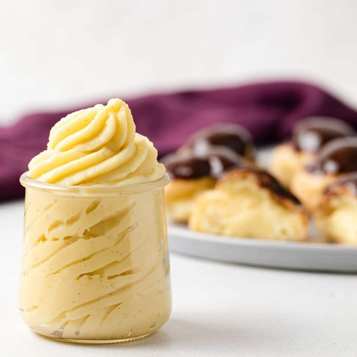 Pastry cream in a glass jar.