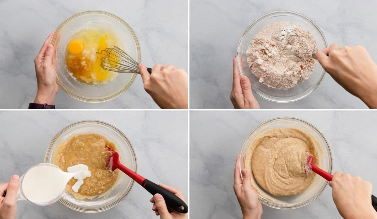 process shots showing how to mix batter for baked donuts