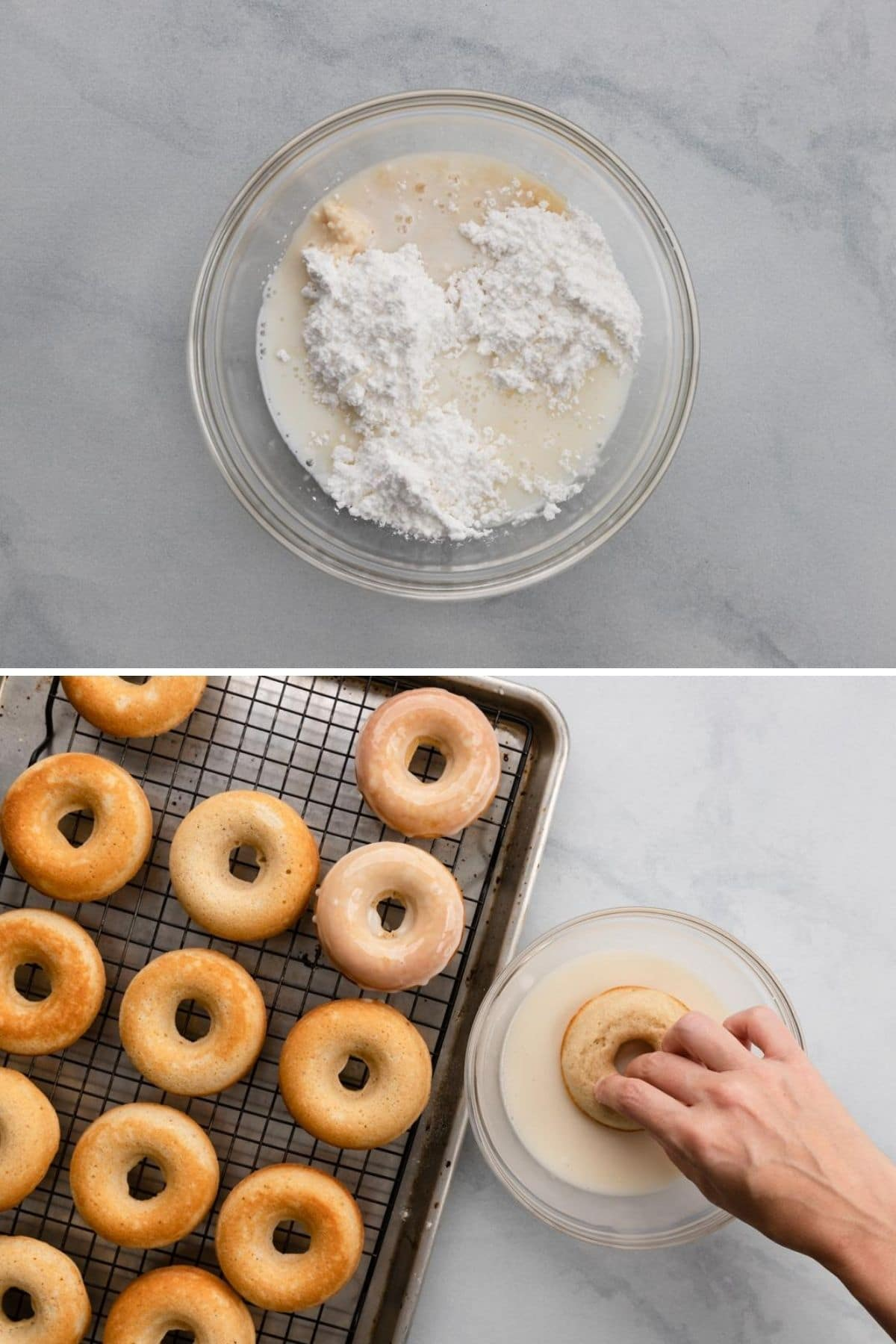 process shots showing ingredients for glaze in glass mixing bowl and hand dipping donuts into mixed glaze