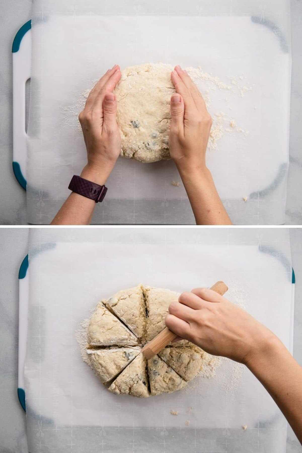 two images showing how to shape and cut scone dough
