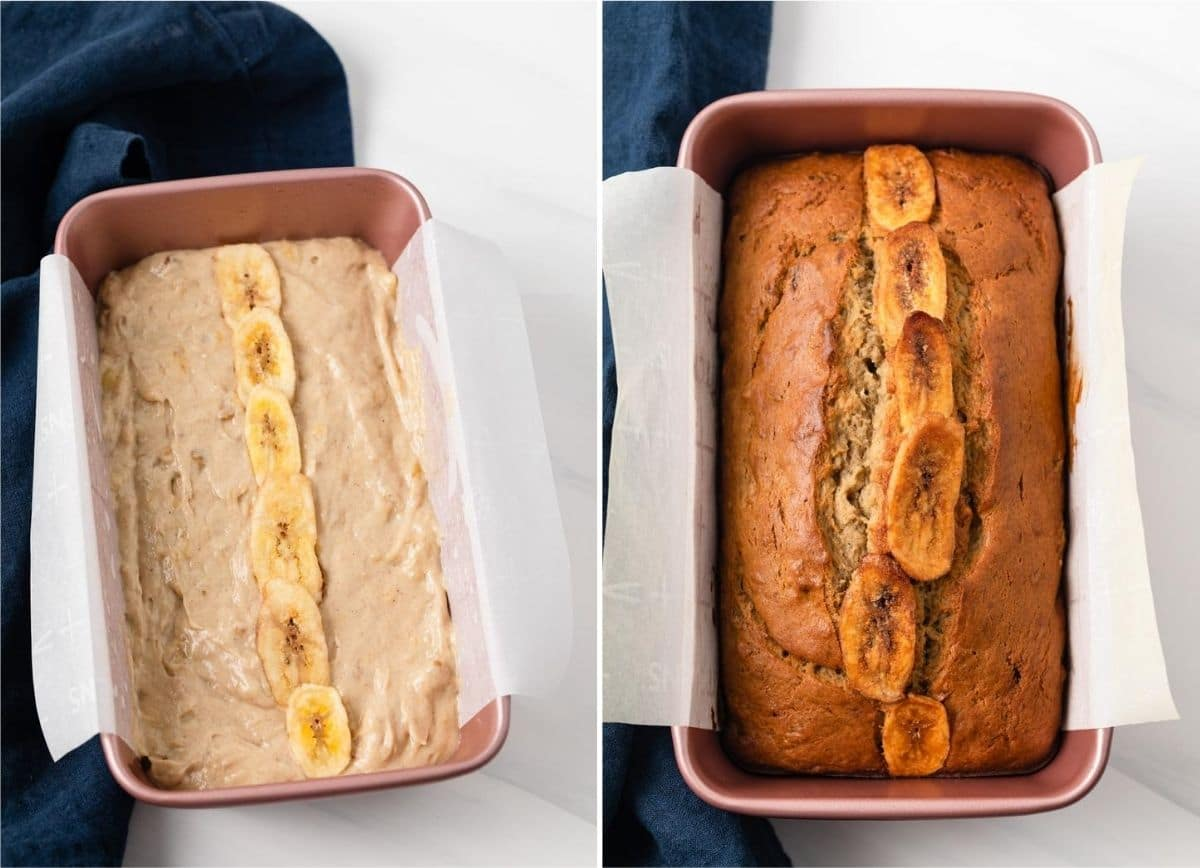 side by side photos showing banana bread batter in pink loaf pan and baked banana bread in loaf pan