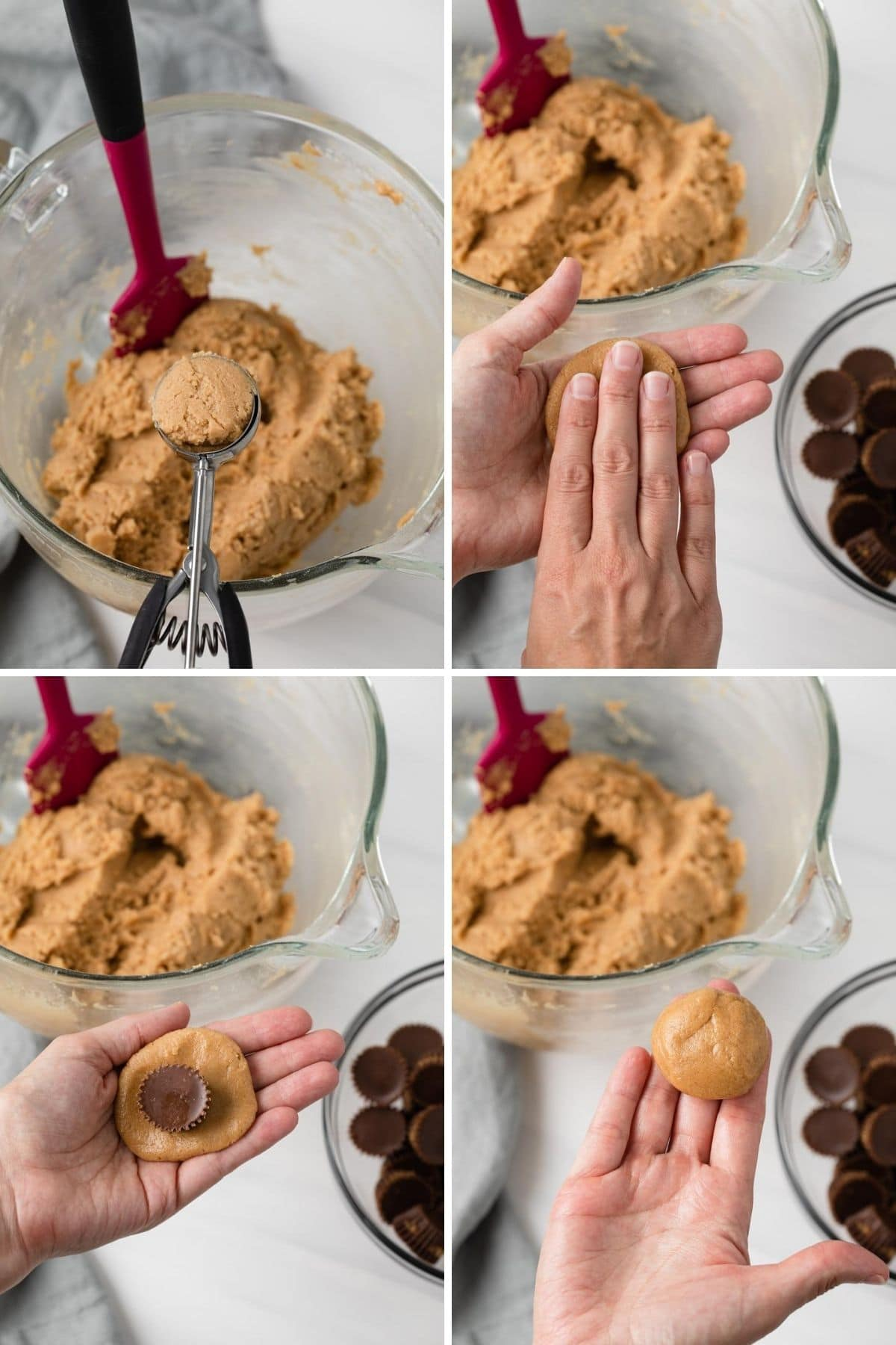 process shots showing how to stuff peanut butter cookie dough with peanut butter cups