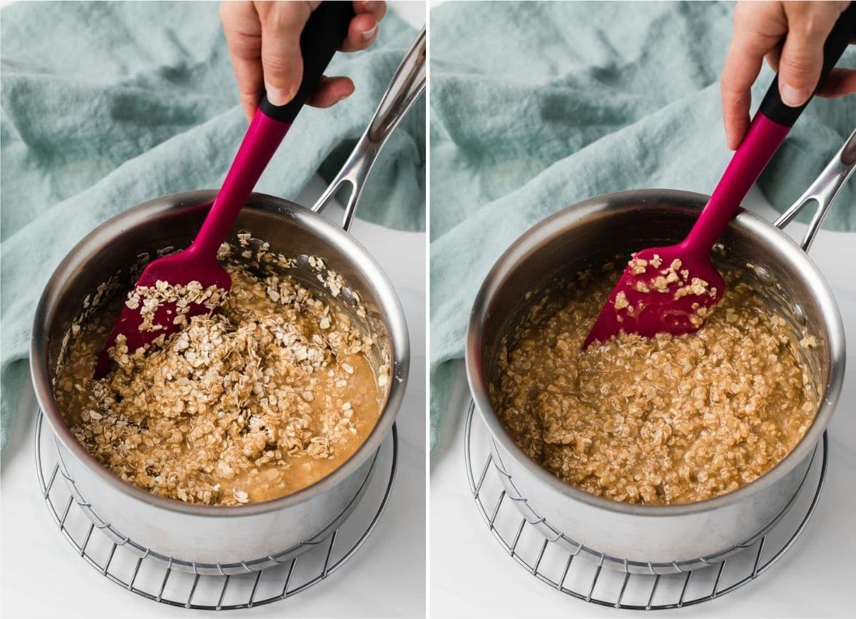 process shots showing mixing of peanut butter no bake cookies in a pot