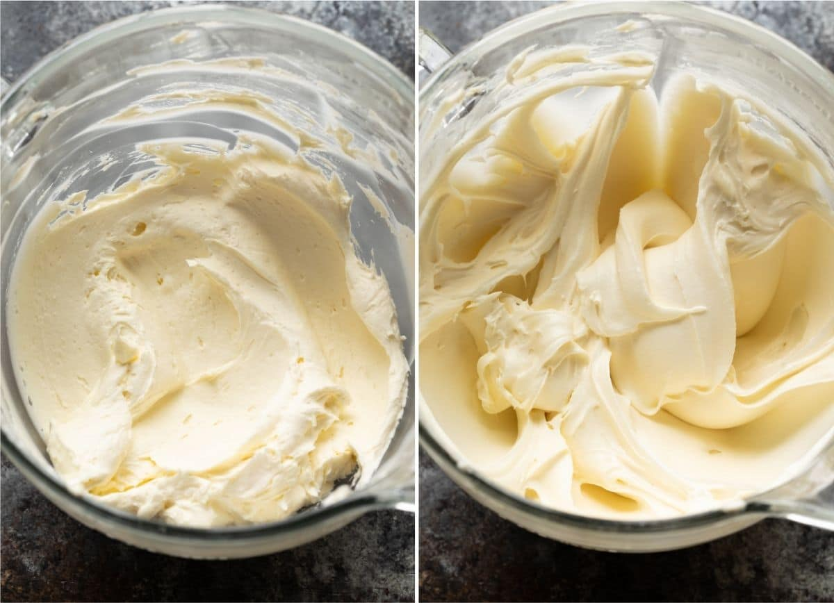 creamed butter in a large glass bowl next to cream cheese frosting in a large glass bowl