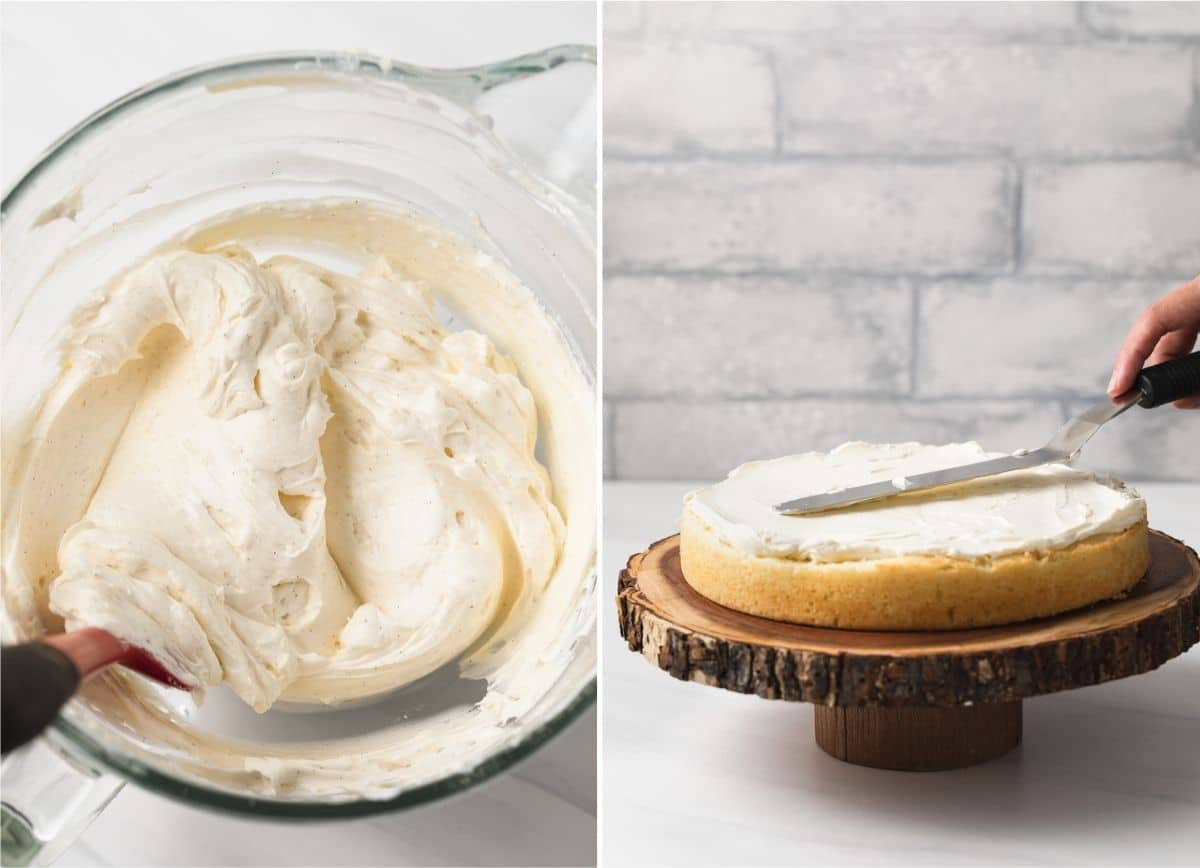 two process shots showing vanilla frosting in glass bowl and frosting being spread over vanilla cake on wood stand