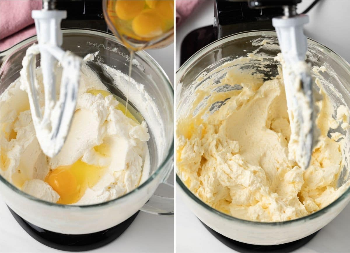 process shots showing eggs added to creamed butter and sugar