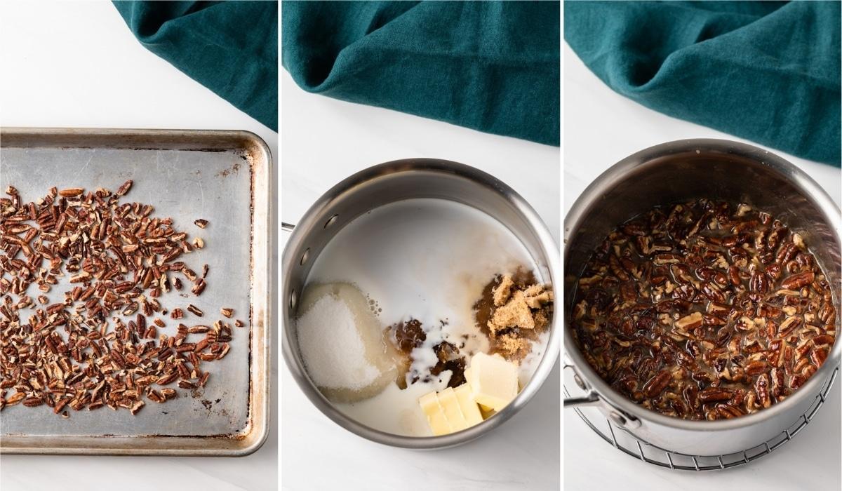 pecans on baking sheet, ingredients for praline base in sauce pan, and praline pecan mixture in saucepan