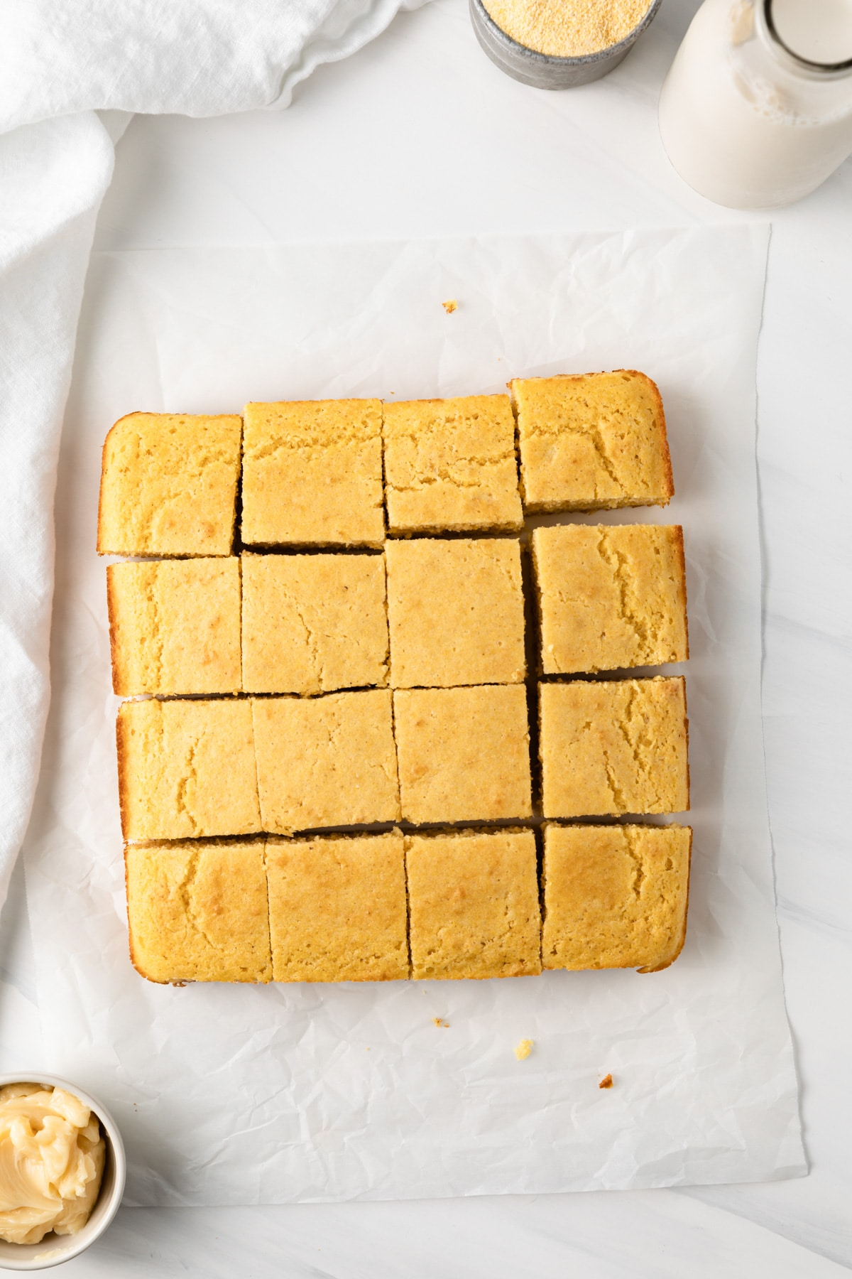 overhead of southern cornbread sliced into squares