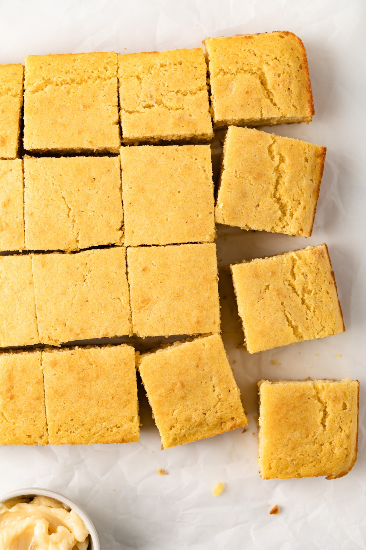 close up of southern cornbread sliced into squares