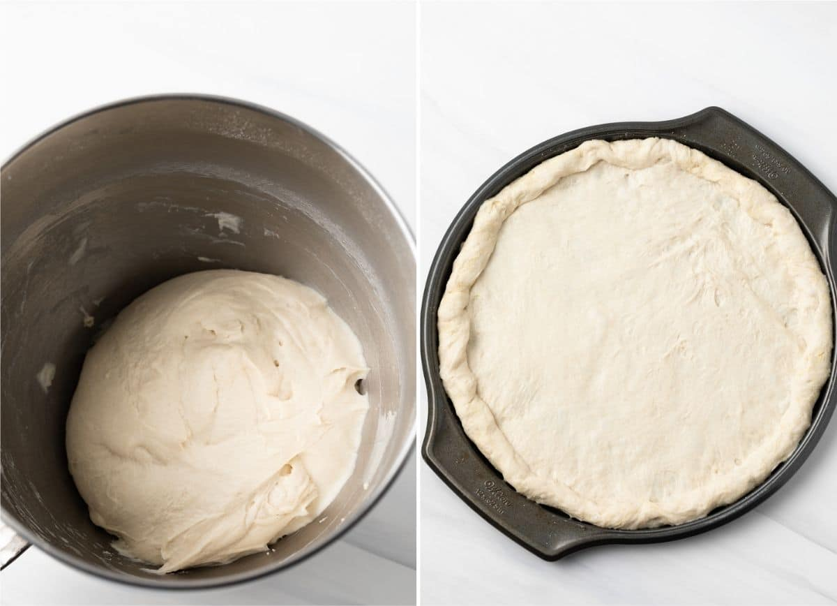 pizza dough in a steel mixing bowl next to dough stretched on a round pizza pan