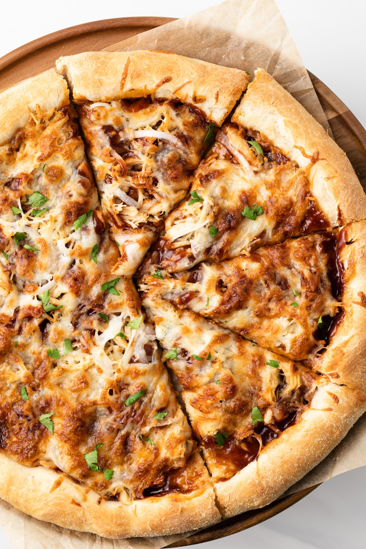 bbq chicken pizza with slices cut