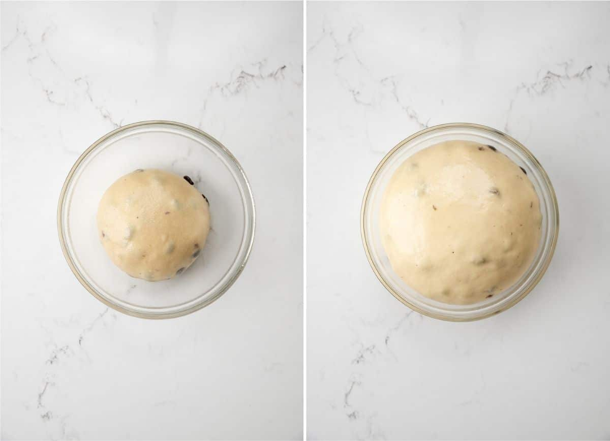 unproofed dough in a bowl next to proofed dough in a bowl