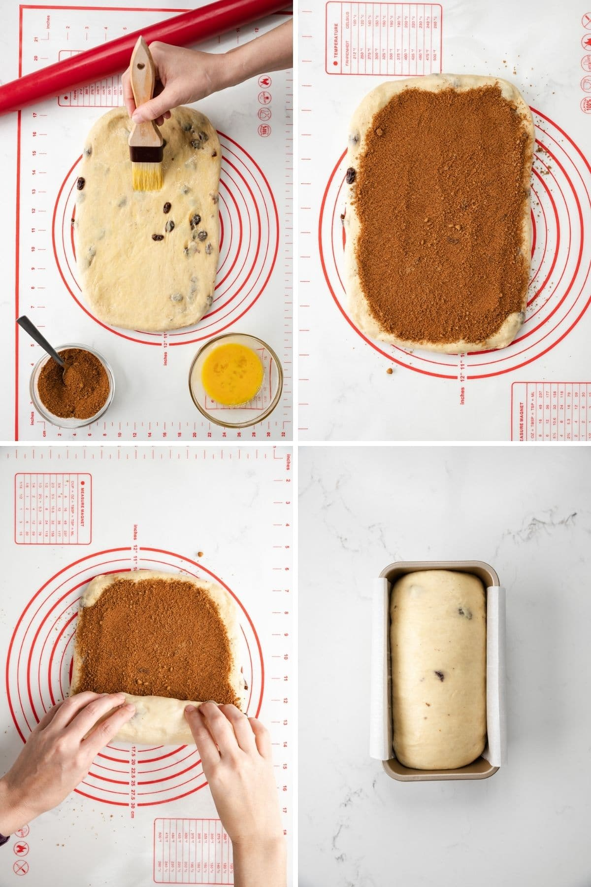 dough rolled into a rectangle being brushed with egg, cinnamon sugar mixture spread over dough, hand rolling dough into loaf shape, and an unbaked loaf in bread bread