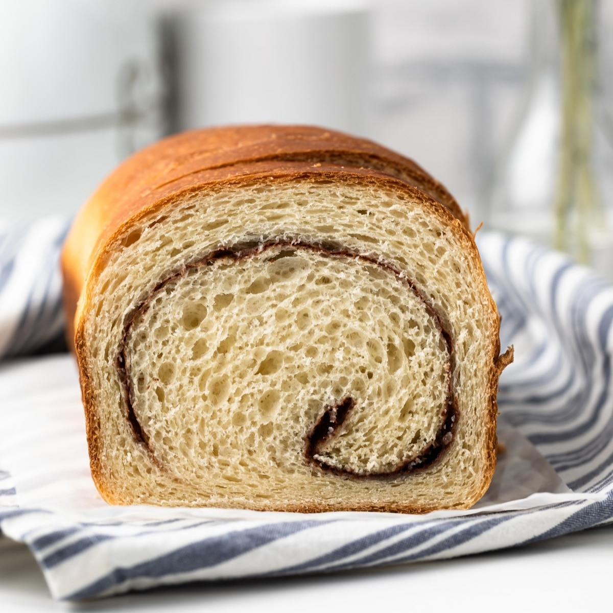 open face shot of cinnamon swirl bread