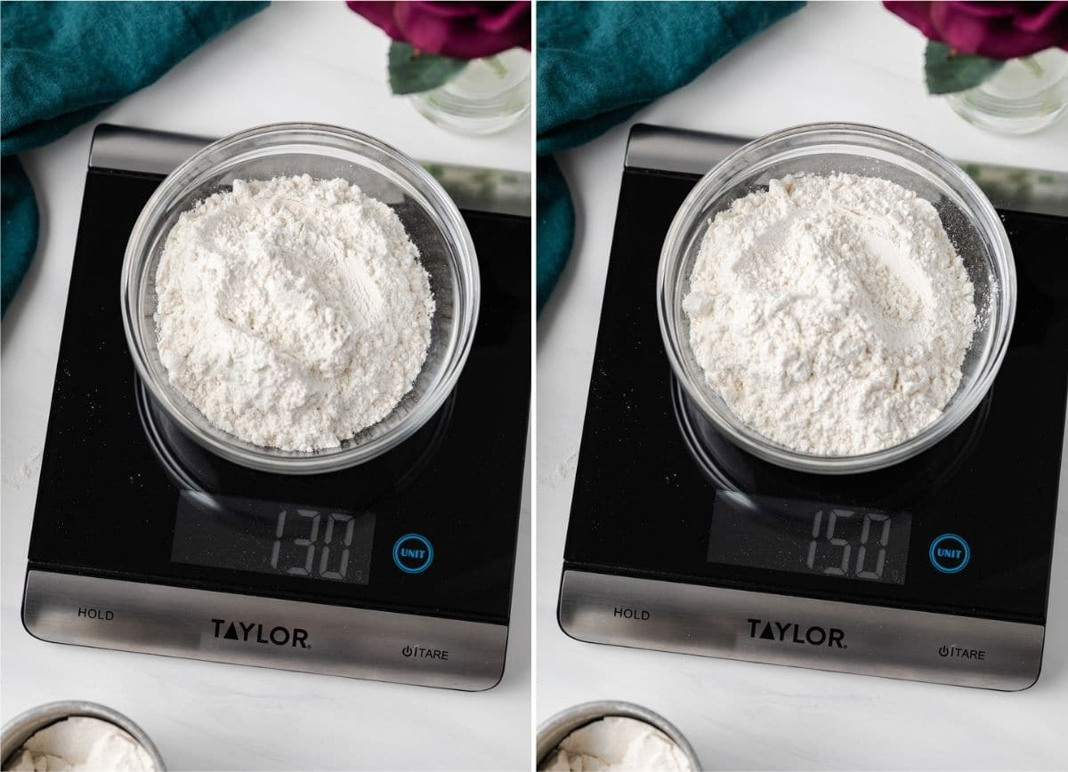 two images of flour in glass bowls on a scale, one reads 130 grams, the other reads 150 grams