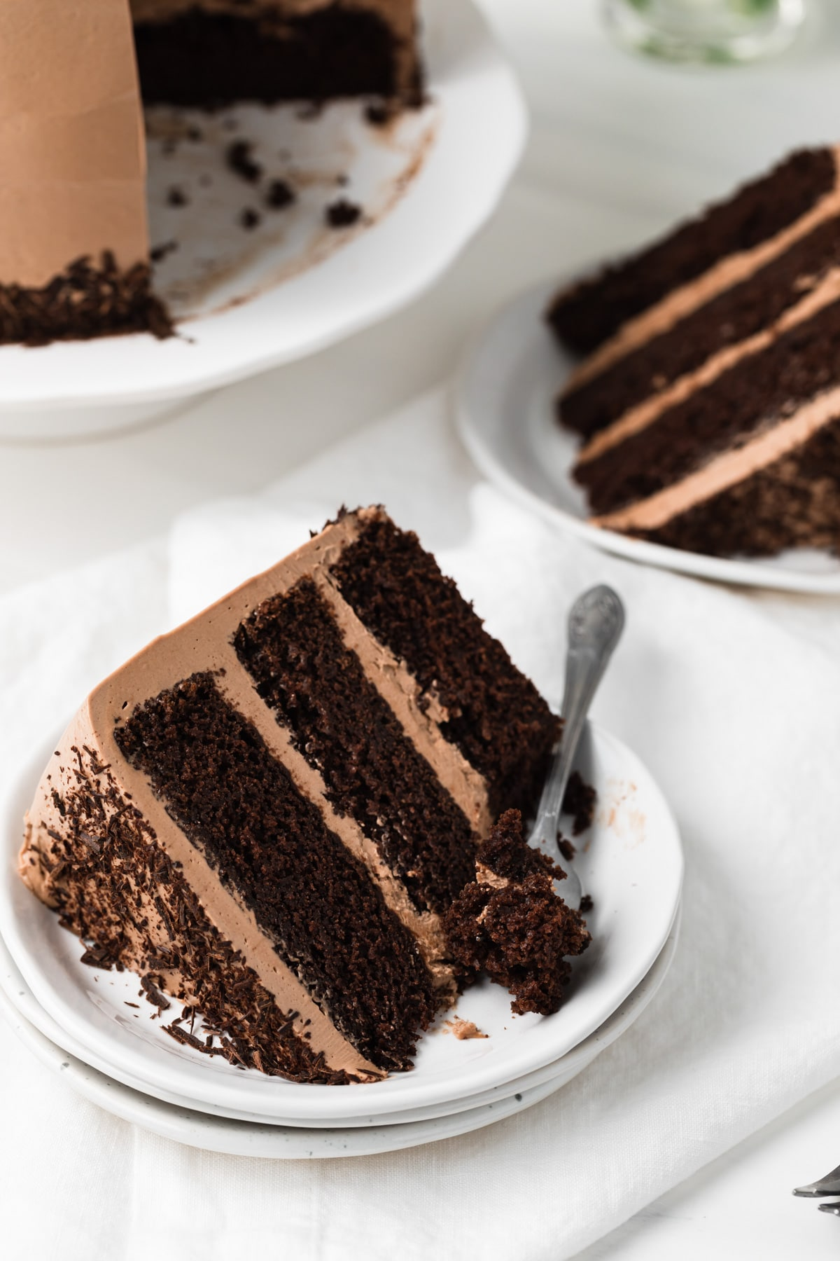 fork taking a bite out of Nutella cake