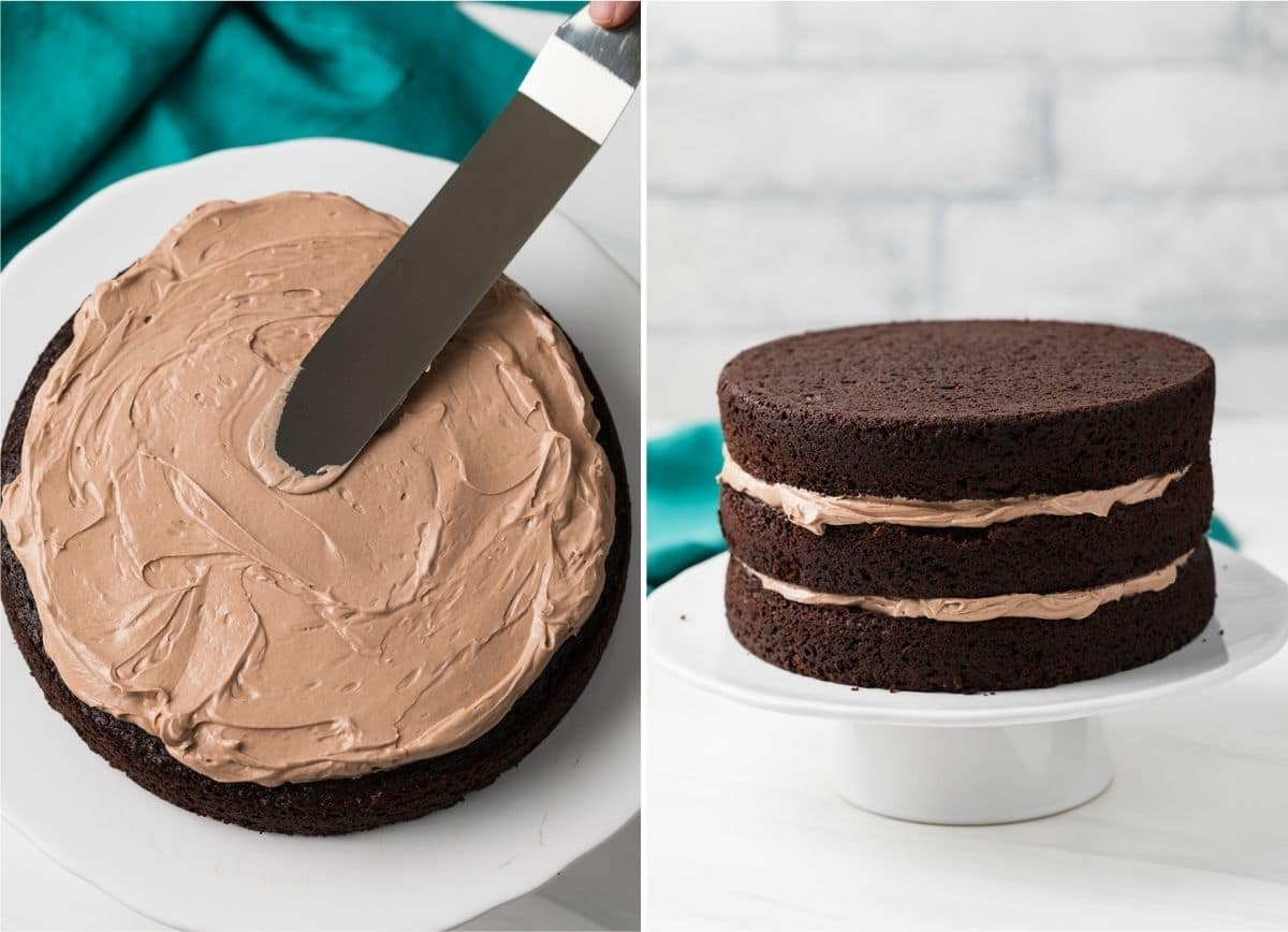 Nutella Swiss meringue frosting spread over chocolate cake layer next to 3 layers of Nutella cake with frosting in between