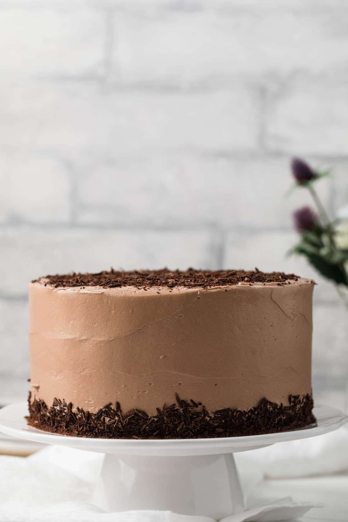Nutella cake with Nutella frosting on white cake stand