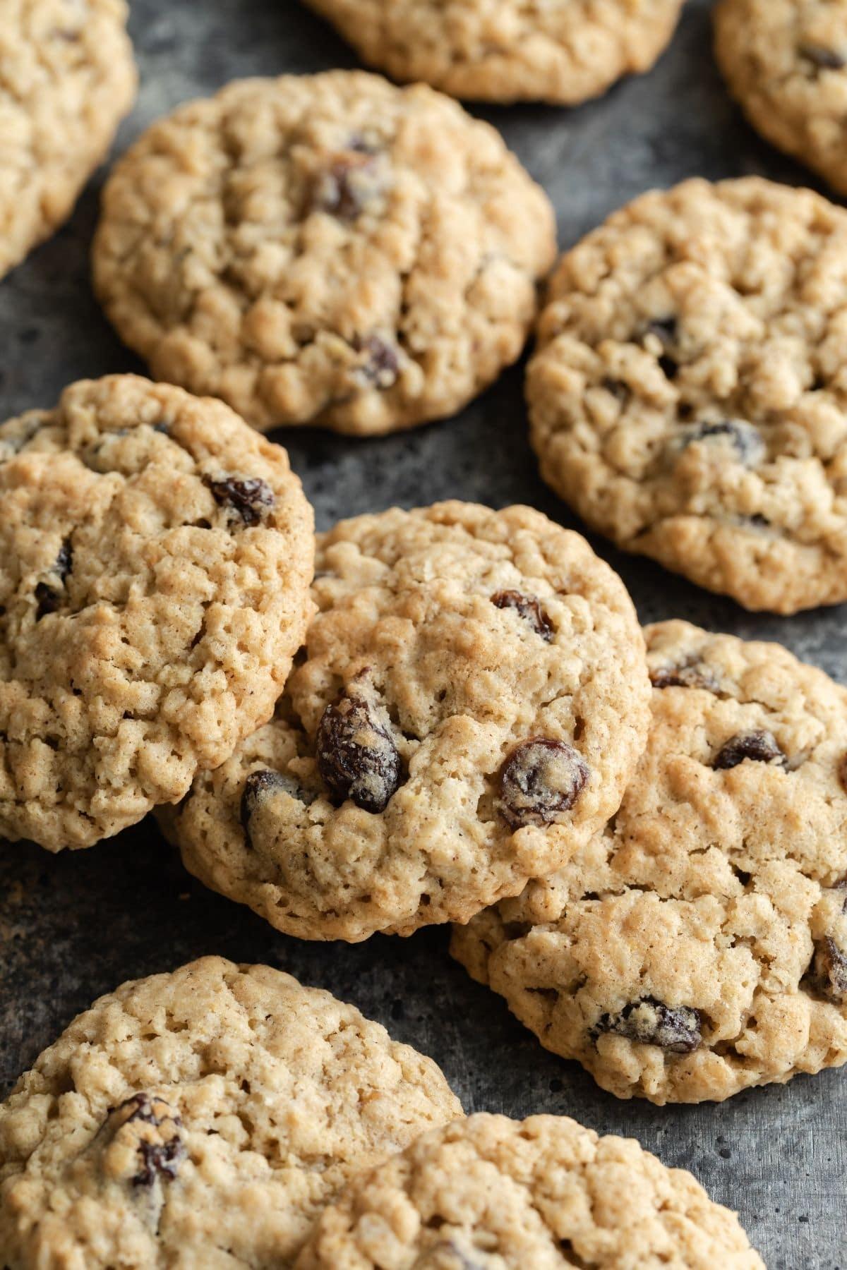 oatmeal raisin cookies lined on a slate platter
