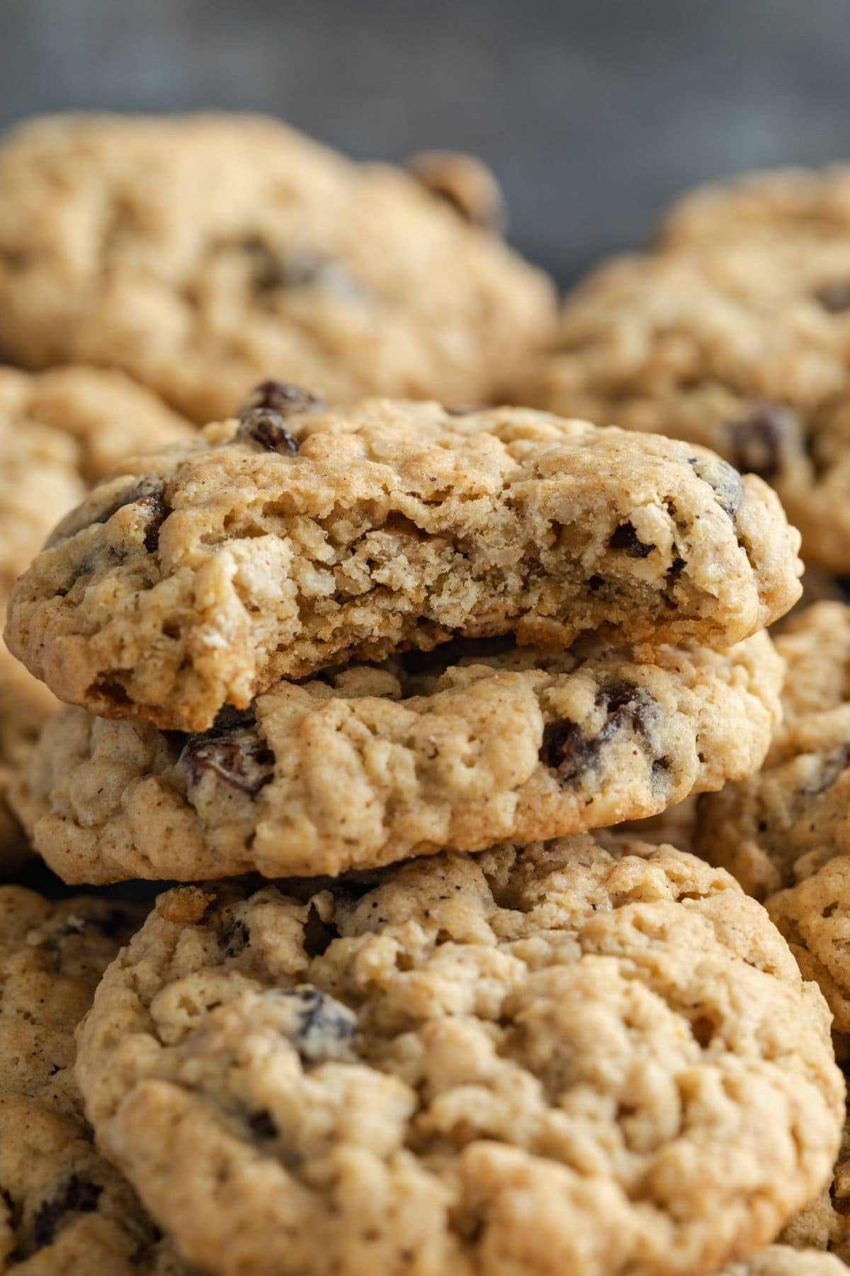 oatmeal raisin cookie with a bite taken out to show insides