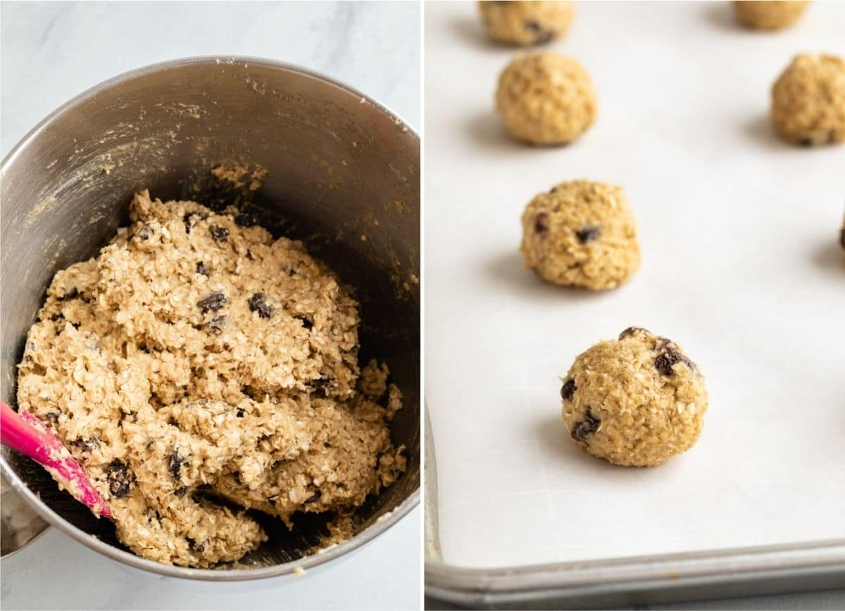 oatmeal raisin cookie dough in a bowl and shaped in balls on baking sheet