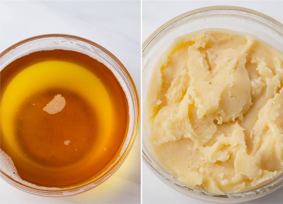 melted brown butter in glass bowl next to solidified brown butter in glass bowl