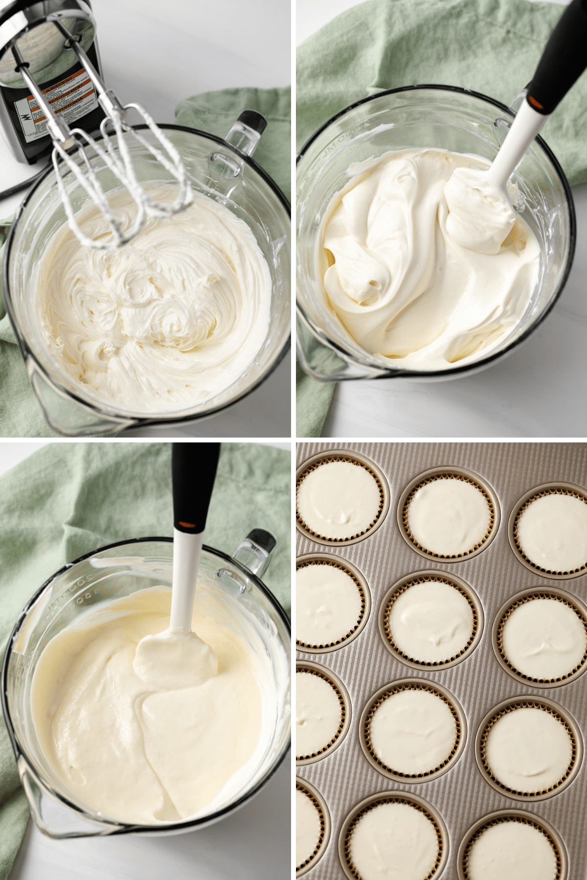 process shots showing cheesecake filling being mixed in glass bowl then portioned into muffin pan liked with paper liners