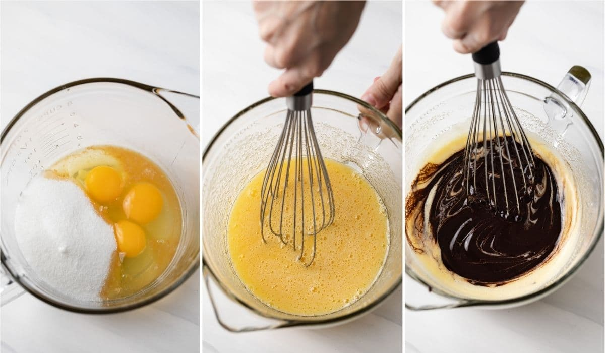 process shots showing eggs and sugar whisked together in glass bowl then melted chocolate being whisked in