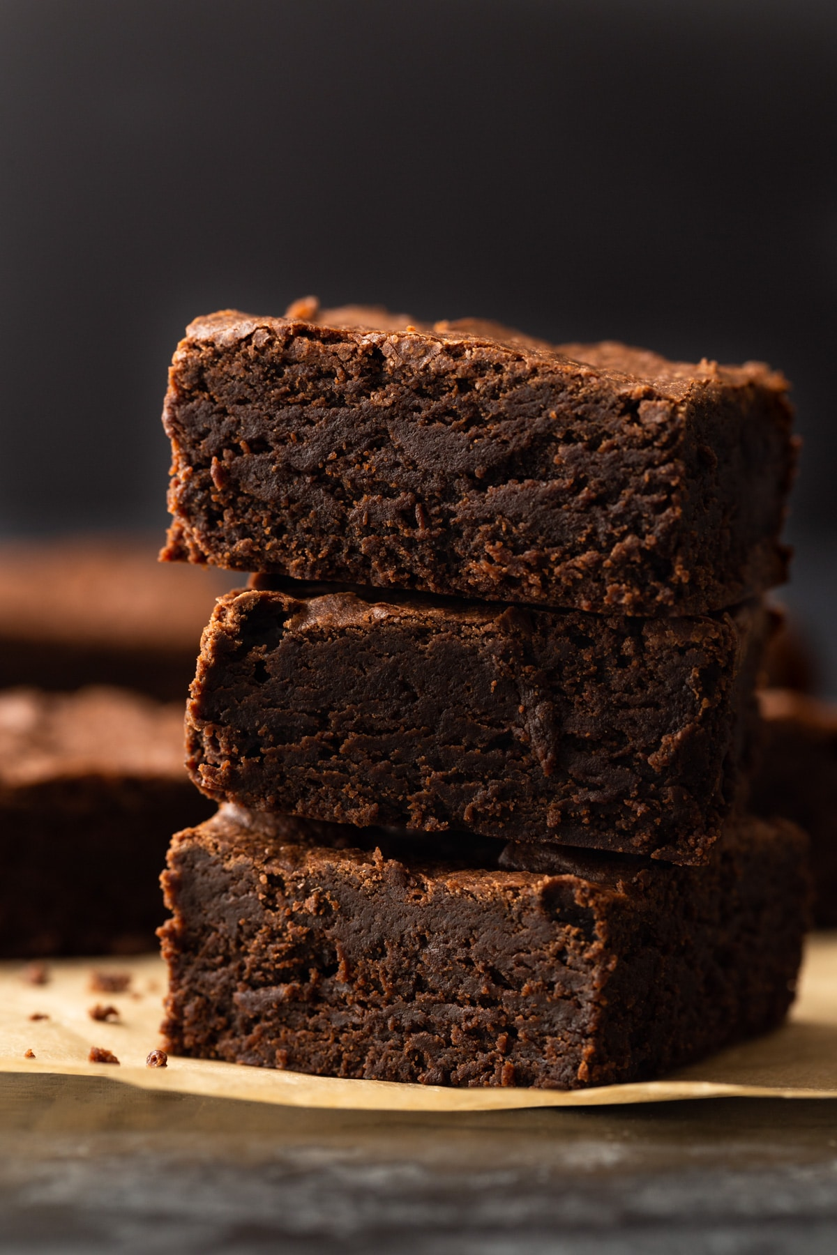 three brownies stacked on one another