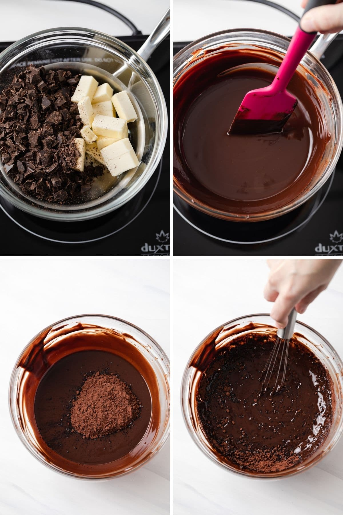 process shots showing chocolate and butter melted in a glass bowl set over a pot of water then stirring in cocoa powder
