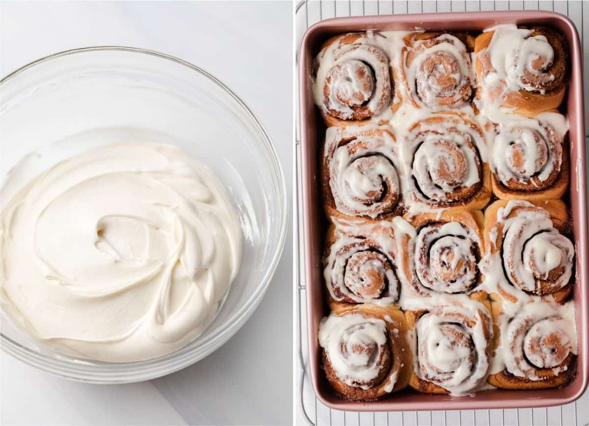 cinnamon roll icing in a bowl on the left and iced cinnamon rolls in a pink baking pan on the right